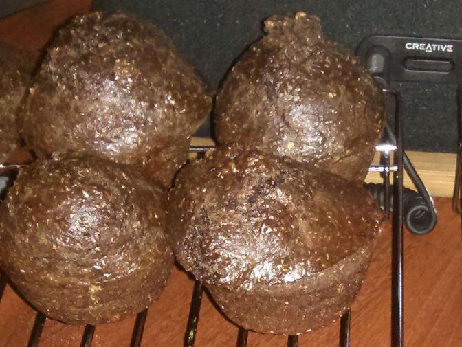 Chocolate Peanut Butter Bran Muffins surprisingly tasty, low in sugar