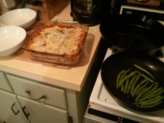 Vegetarian lasagna: vegetables and herbs shoved into old standby