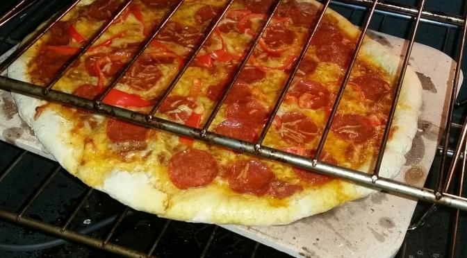 Sourdough wheat pizza blends delicate, rustic flavor